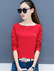 cheap -Women's Daily Plus Size Casual Spring Fall T-shirt,Solid Round Neck Long Sleeves Cotton Polyester Thin