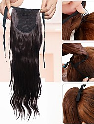 cheap -Ponytail One Piece Hairpiece Hair Extension Synthetic Long Wavy Brown Lady Synthetic Fiber Wig