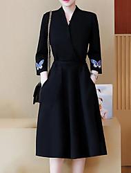 Недорогие -Жен. Большие размеры Свободный силуэт Платье - Однотонный Вышивка V-образный вырез Средней длины Черный