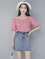 baratos -Feminino Camisa Saia Conjuntos Casual Fofo Verão,Riscas Decote Canoa Meia Manga Micro-Elástica