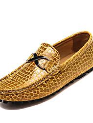 preiswerte -Herren Schuhe Echtes Leder Frühling Herbst Komfort Tauchschuhe Loafers & Slip-Ons Kombination Für Normal Schwarz Dunkelblau Gelb
