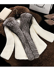 Women's Going out Simple Fall Winter Fur Coat,Solid V Neck Long Sleeve Regular Polyester Fur Trim