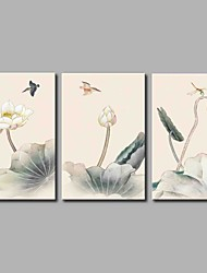 cheap -Hand-Painted Floral/Botanical Horizontal Panoramic,Rustic Three Panels Canvas Oil Painting For Home Decoration
