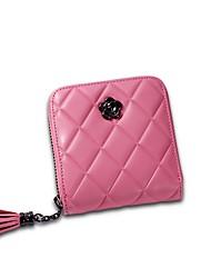 cheap -Women Bags Cowhide Wallet Zipper for Shopping Casual All Seasons Black Red Blushing Pink Gray Fuchsia
