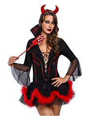 cheap -Devil One Piece Dress Maid Suits Female Christmas Halloween Carnival Festival / Holiday Halloween Costumes Black Solid Color Geometic