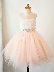 cheap -A-Line Knee Length Flower Girl Dress - Lace Tulle Sleeveless Jewel Neck with Lace Sash / Ribbon by LAN TING Express