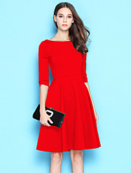 cheap -Women's Casual/Daily Loose Dress,Solid Round Neck Above Knee Short Sleeves Cotton Fall Low Rise Inelastic Sheer