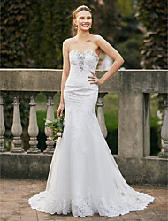 cheap -Mermaid / Trumpet Sweetheart Neckline Chapel Train Lace / Tulle Custom Wedding Dresses with Beading / Appliques by LAN TING BRIDE®
