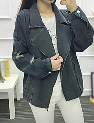 cheap -Women's Daily Simple Casual Fall Denim Jacket,Solid Peaked Lapel Long Sleeve Regular Cotton