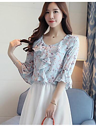 cheap -Women's Daily Cute Summer Blouse,Floral V Neck Half Sleeves Rayon Thin