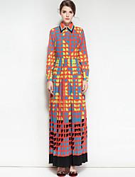 Feminino balanço Vestido,Festa Casual Estampado Colarinho de Camisa Longo Manga Longa Algodão Poliéster Outono Inverno Cintura Média Sem