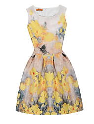 cheap -Girl's Birthday Daily Going out Holiday Solid Floral Dress, Cotton Polyester Spring Summer Sleeveless A-Line Slip Pattern Solid Color