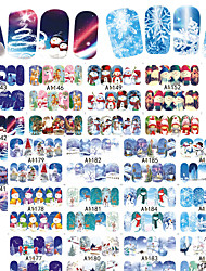 2 Adesivi per manicure Fantasia Accessori Art déco/Retrò Sticker per il trasferimento di acqua Effetto 3D Natale Capodanno Articoli DIY