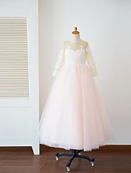 Princess Floor Length Flower Girl Dress - Tulle Long Sleeves Scoop Neck with Appliques Buttons by Thstylee