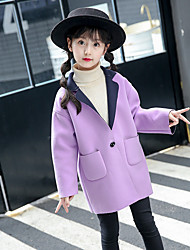 cheap -Girls' Solid Jacket & Coat,Wool Cotton Winter Fall Vintage Cute Casual Blushing Pink Yellow Lavender