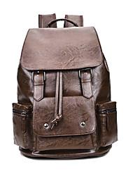 Недорогие -Для мужчин Мешки Полиуретан рюкзак Пуговицы Молнии Карман для Путешествия на открытом воздухе Все сезоны Черный Коричневый