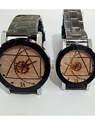 economico -Da coppia Orologio alla moda Orologio da polso Creativo unico orologio Cinese Quarzo Acciaio inossidabile Banda Vintage Casual Argento