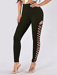 Women's Medium Solid Color Cross - spliced Legging,Solid