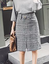 cheap -Women's Daily Work Knee-length Skirts Houndstooth Winter Fall