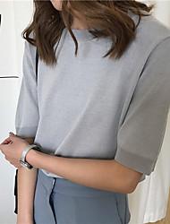 Standard Pullover Da donna-Casual Semplice Tinta unita Rotonda Mezza manica Altro Autunno Medio spessore Media elasticità
