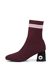 cheap -Women's Shoes Knit Synthetic Microfiber PU Fall Winter Fashion Boots Combat Boots Slouch Boots Boots Chunky Heel Pointed Toe