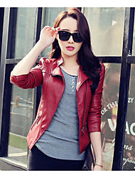 cheap -Women's Holiday Going out Simple Casual Street chic Winter Fall Leather Jacket,Solid Stand Short PU