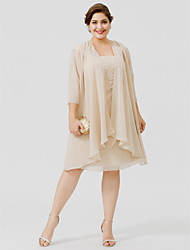 cheap -Sheath / Column Straps Knee-length Chiffon Plus Size Mother of the Bride Dress by LAN TING BRIDE®