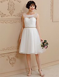 A-Line Scoop Neck Knee Length Lace Tulle Wedding Dress with Beading Appliques Sash / Ribbon by LAN TING BRIDE®