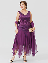 cheap -A-Line V-neck Asymmetrical Chiffon Lace Satin Mother of the Bride Dress with Beading Appliques by LAN TING BRIDE®