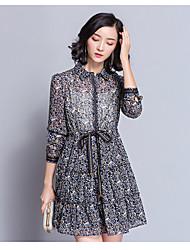 Trapèze Robe Femme Sortie Imprimé Col Rond Claudine Mi-long Manches Longues Coton Printemps Taille Normale Micro-élastique Moyen
