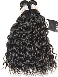 Virgin Malaysian Natural Color Hair Weaves Water Wave Hair Extensions 3 Pieces Black