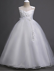 Ball Gown Floor Length Flower Girl Dress - Organza Sleeveless Jewel Neck with Appliques Crystal Detailing Ruching by YDN