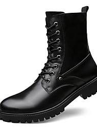 cheap -Men's Shoes Real Leather Cowhide Nappa Leather Fall Winter Comfort Fashion Boots Motorcycle Boots Combat Boots Boots Mid-Calf Boots