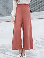 cheap -Women's High Rise Micro-elastic Wide Leg Chinos Pants Solid Fall