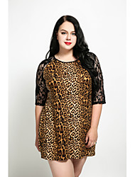 cheap -Women's Plus Size Shift Dress - Leopard, Lace Mini