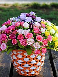preiswerte -22cm 3 Stück 7 Zweige / pc Heimdekoration künstliche Blumen bunte Rosen
