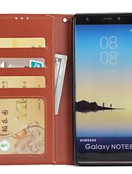Недорогие -Кейс для Назначение SSamsung Galaxy Note 8 Кошелек Бумажник для карт со стендом Флип Чехол Сплошной цвет Твердый Искусственная кожа для