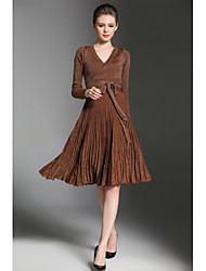 Women's Party Going out Sexy Sweater Dress,Solid V Neck Above Knee Long Sleeves Others Fall Winter High Rise Micro-elastic Medium