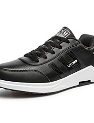 cheap -Men's Shoes Leather Spring Fall Light Soles Athletic Shoes Walking Shoes Lace-up For Athletic Black/Red Black/White