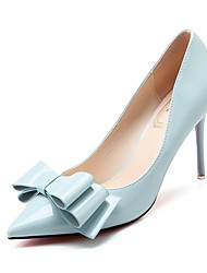 cheap -Women's Shoes PU Summer Fall Comfort Heels Stiletto Heel Pointed Toe Bowknot for Party & Evening Dress Black Light Grey Green Light Blue
