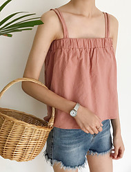 cheap -Women's Daily Casual Tank Top,Solid Square Neck Sleeveless Cotton Linen