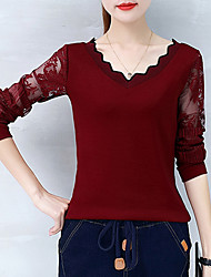 cheap -Women's Cotton T-shirt - Solid, Lace Patchwork V Neck
