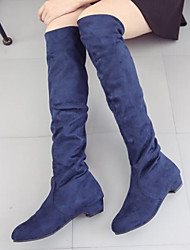 cheap -Women's Shoes Nappa Leather Winter Fashion Boots Slouch Boots Boots Chunky Heel Knee High Boots for Casual Black Dark Blue Brown Red
