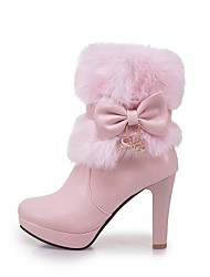 cheap -Women's Shoes Leatherette Winter Fashion Boots Boots Chunky Heel Round Toe Booties/Ankle Boots Bowknot For Casual Dress Blushing Pink