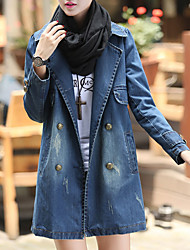 cheap -Women's Going out Simple Casual Winter Fall Denim Jacket,Solid Shirt Collar Long Sleeve Regular Polyester