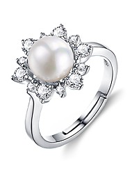 cheap -Women's Engagement Ring Cubic Zirconia Pearl Fashion Elegant Pearl Sterling Silver Round Flower Jewelry Birthday Gift