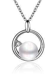 Women's Pendant Necklaces Chain Necklaces Cubic Zirconia Imitation Pearl Round Irregular Zircon Silver Plated Fashion Hypoallergenic