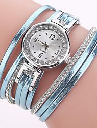 Mulheres Relógio de Moda Bracele Relógio Simulado Diamante Relógio Chinês Quartzo imitação de diamante PU Banda Pendente Casual Elegantes