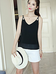 cheap -Women's Going out Cute Blouse,Solid V Neck Sleeveless Cotton Acrylic