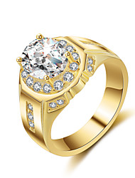 cheap -Men's AAA Cubic Zirconia Band Ring - Cubic Zirconia 8 / 9 / 10 Gold / Silver For Wedding / Party